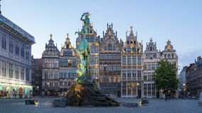 Grote Markt square day to night time lapse in Antwerp, Belgium.  stock video