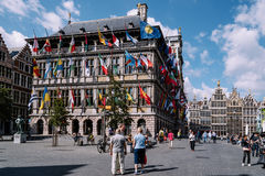 The Grote Markt and Town Hall of Antwerp Royalty Free Stock Photos