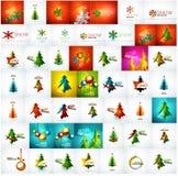 Grote megainzameling van Kerstkaarten en Stock Foto