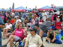 Grote Menigte in Airshow Stock Foto's