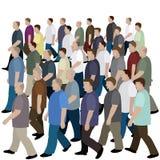 Grote menigte van mensen die zich aan de gemeenschappelijke richting bewegen Stock Afbeelding