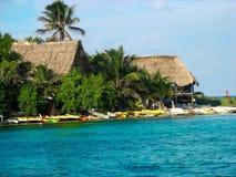 Grote met stro bedekte dakhutten op Glover Atol, Belize stock foto