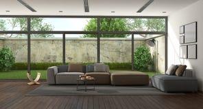 Grote minimalistische woonkamer Royalty-vrije Stock Afbeelding