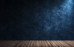 Grote moderne ruimte met blauwe pleistermuur, houten vloer en stenen rand Stock Fotografie