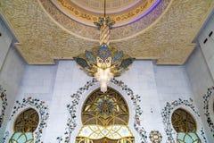 Grote Moskee Abu Dhabi - Binnenland stock foto's