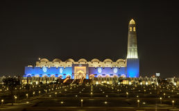 Grote Moskee in Doha bij nacht Stock Foto's