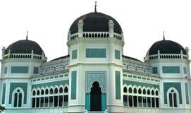Grote Moskee van Medan die op witte achtergrond wordt geïsoleerdr Stock Foto's