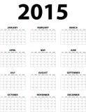 Grote muur maandelijkse kalender voor 2015 Stock Afbeelding