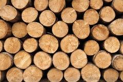 Grote muur van gestapelde houten logboeken die natuurlijke verkleuring tonen Stock Foto