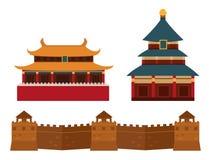 Grote muur van van de het oriëntatiepuntbaksteen van China Peking Azië van de de architectuurcultuur de geschiedenis vectorillust stock illustratie