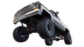 Grote off-road pick-up Volledig - opleidend Hoogst opgeheven opschorting Reusachtige wielen met aren voor rotsen en modder 3D Ill Stock Fotografie
