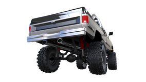 Grote off-road pick-up Volledig - opleidend Hoogst opgeheven opschorting Reusachtige wielen met aren voor rotsen en modder 3D Ill Royalty-vrije Stock Afbeeldingen