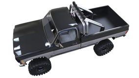 Grote off-road pick-up Volledig - opleidend Hoogst opgeheven opschorting Reusachtige wielen met aren voor rotsen en modder 3D Ill Royalty-vrije Stock Fotografie
