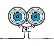 grote ogen en verrekijkers Stock Foto's