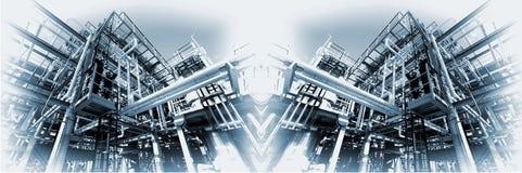Grote olie en gas panoramische raffinaderij Royalty-vrije Stock Fotografie