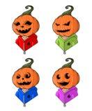 Grote ontworpen beeldverhaal hoofd-gestileerde pompoenen voor Halloween Stock Afbeelding