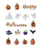 Grote ontworpen beeldverhaalpompoenen voor Halloween Stock Afbeeldingen