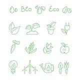 Grote ontworpen ecologische pictogrammen Royalty-vrije Stock Fotografie