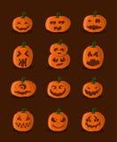Grote ontworpen pompoenen voor Halloween Stock Afbeeldingen