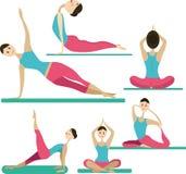 Grote ontworpen reeks van yogakarakter Stock Foto's