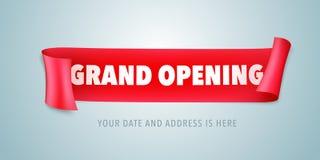 Grote openings vectorillustratie met rood lint Het element van het malplaatjeontwerp voor het openen van ceremonie royalty-vrije illustratie