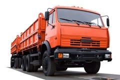 Grote oranje vrachtwagen stock afbeeldingen