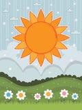Grote oranje zon Royalty-vrije Stock Foto's