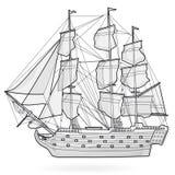 Grote oude houten historische varende draadboot op wit Met zeilen, mast, bruin dek, kanonnen Stock Foto's