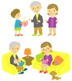 Grote ouders en grote zoon stock illustratie
