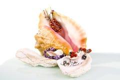 Grote overzeese shell met jewelerystilleven Stock Afbeelding