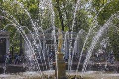 Grote Paleis, fonteinen en cascades in Peterhof Royalty-vrije Stock Afbeeldingen