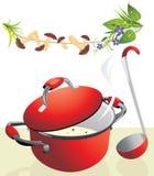 Grote pan met champignonsoep en lepel Royalty-vrije Stock Foto