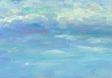 Grote penseelstreken van olieverfschilderijtextuur Overzeese hemel vector illustratie