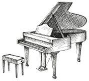 Grote piano en kruk voor musicus stock illustratie