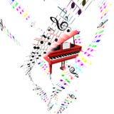 Grote piano met gekleurde vliegende verdeling. Luchtconcept. Royalty-vrije Stock Foto's