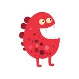 Grote pictogram van beeldverhaal het vlakke monsters Kleurrijk jong geitjestuk speelgoed leuk monster Vector Royalty-vrije Stock Afbeelding