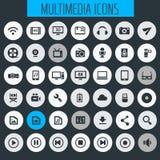 Grote pictogramreeks Van verschillende media Stock Foto's