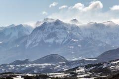 Grote piek de Winterochtend van Morgon Hautes-Alpes, Franse Alpen, Fra Royalty-vrije Stock Fotografie
