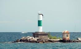 Grote pijp op een eiland op het Meer van Michigan stock afbeeldingen