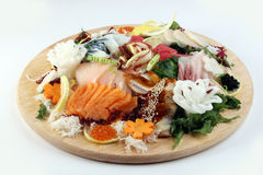 Grote plaat van sashimi Stock Afbeeldingen