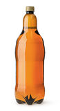 Grote plastic fles met bier Stock Foto
