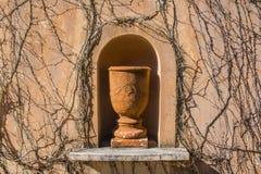 Grote pot zoals standbeeld met dode wijnstokken royalty-vrije stock afbeeldingen