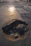 Grote pothole stock foto