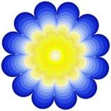 Grote punten die om ornamentmandala schilderen Vectorkunst in blauwe en gele kleuren Royalty-vrije Stock Afbeelding