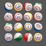 Grote Reeks Ballen van Loterijbingo Royalty-vrije Stock Afbeeldingen