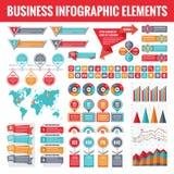 Grote reeks bedrijfs infographic elementen voor presentatie, brochure, website en andere projecten Abstracte infographicsmalplaat Stock Foto's