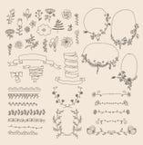 Grote reeks bloemen grafische ontwerpelementen stock illustratie