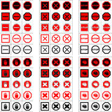 Grote reeks eindetekens en pictogrammen Stock Foto