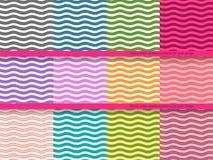 Grote reeks golvende vector naadloze patronen voor uw Stock Afbeelding