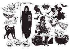 Grote reeks Halloween-voorwerpen stock illustratie
